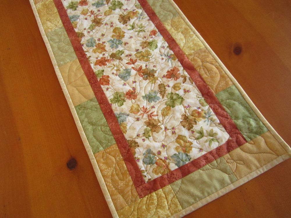 Quilted Table Runner Leaves of Color