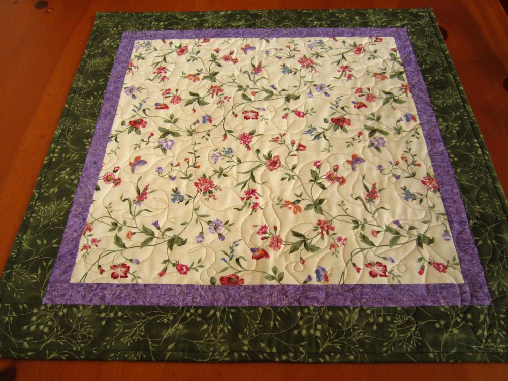 Delicate Flowers Quilted Table Topper