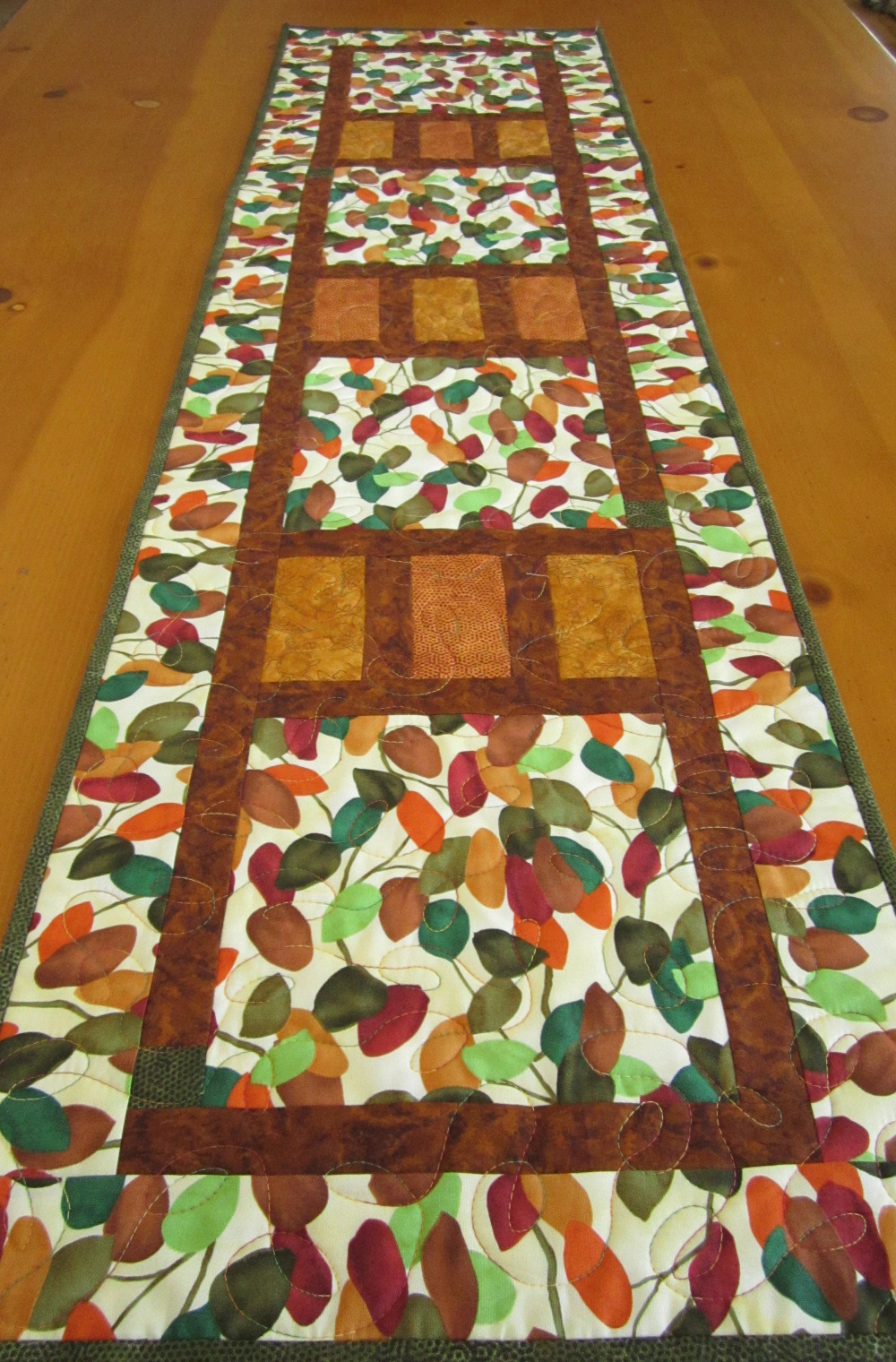 Colorful Leaves Quilted Table Runner