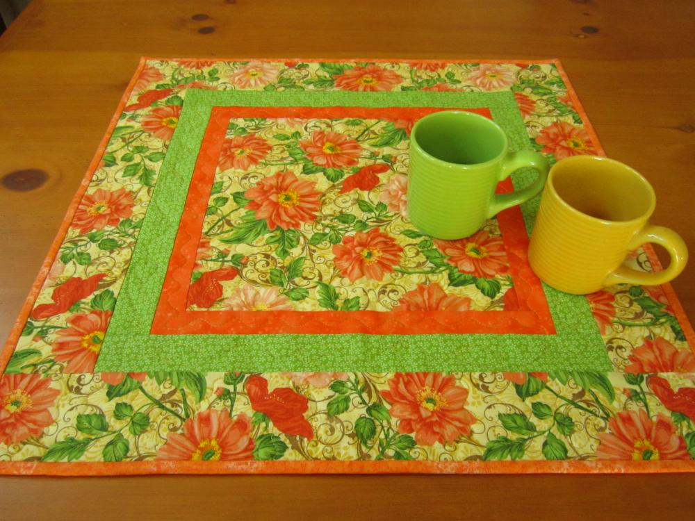Quilted Table Topper Peach and Orange Floral