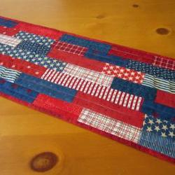 Quilted Table Runner Stars and Stripes